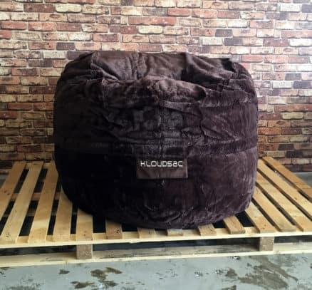 brown fur foam bean bag