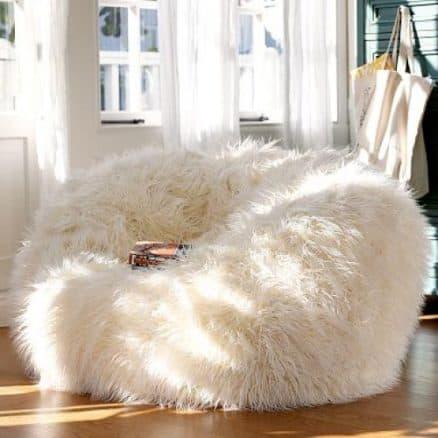 large faux fur bean bag