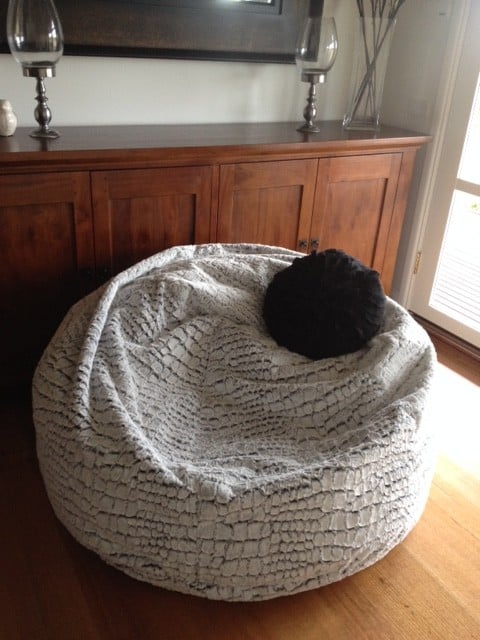 New X Large And Large Stone Fur Velvet Bean Bag Chairs For