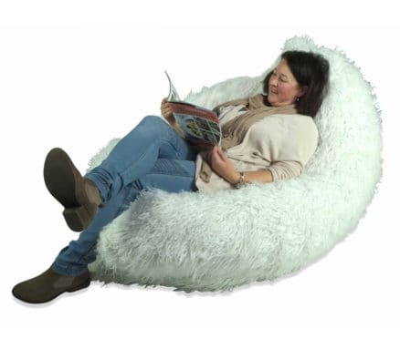 KloudSac Gamer in Shaggy White Fur