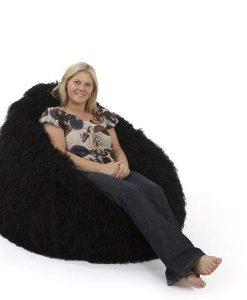 black fur bean bag