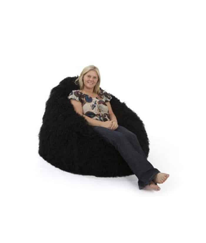Black Fur Bean Bag Large