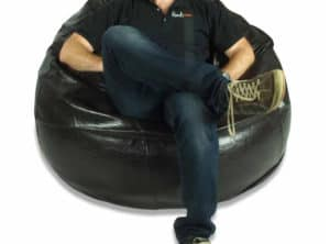Large Black Leather Bean Bag