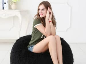 Deluxe Faux Fur Bean Bag Black