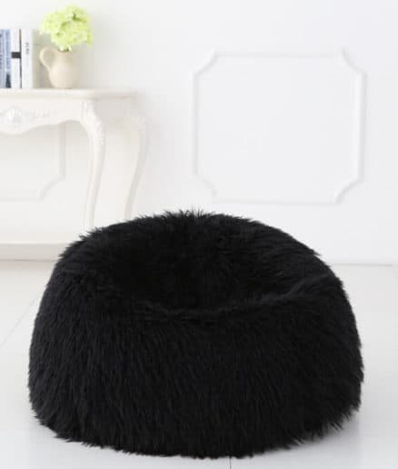 Deluxe Faux Fur Bean Bag Black Large