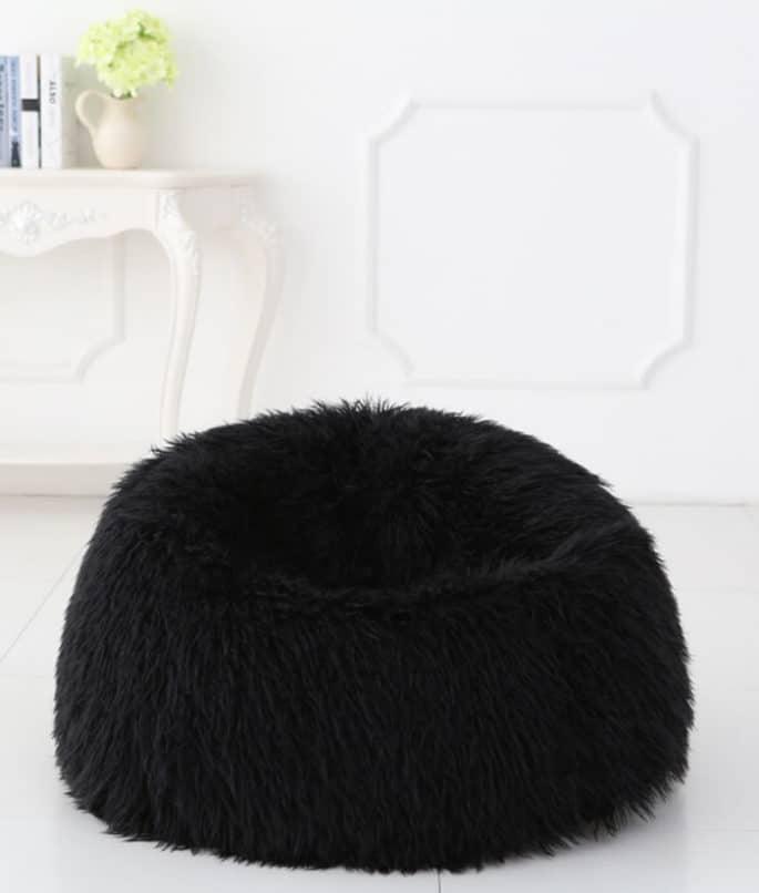 Deluxe Faux Fur Bean Bag Black Large