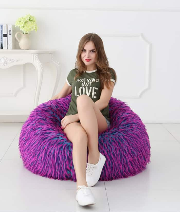 Deluxe Faux Fur Bean Bag Multi Large