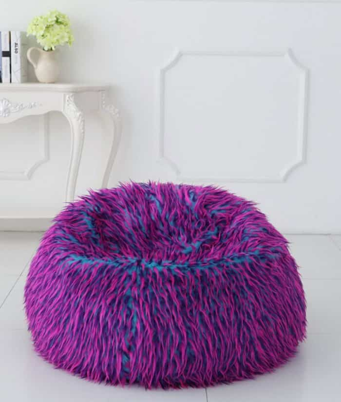 deluxe multi colour faux fur bean bag extra large. Black Bedroom Furniture Sets. Home Design Ideas