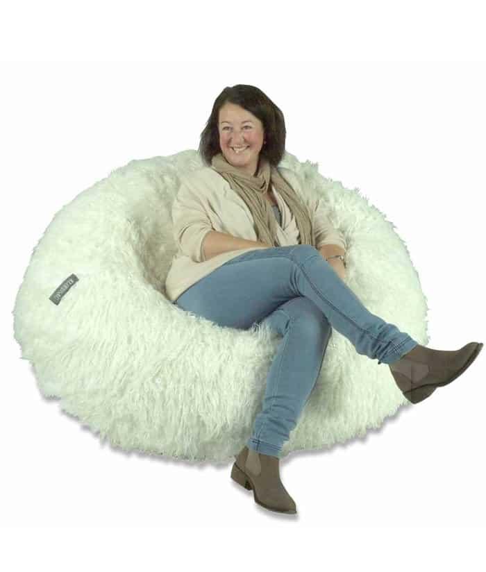 White Shaggy Fur Bean Bag