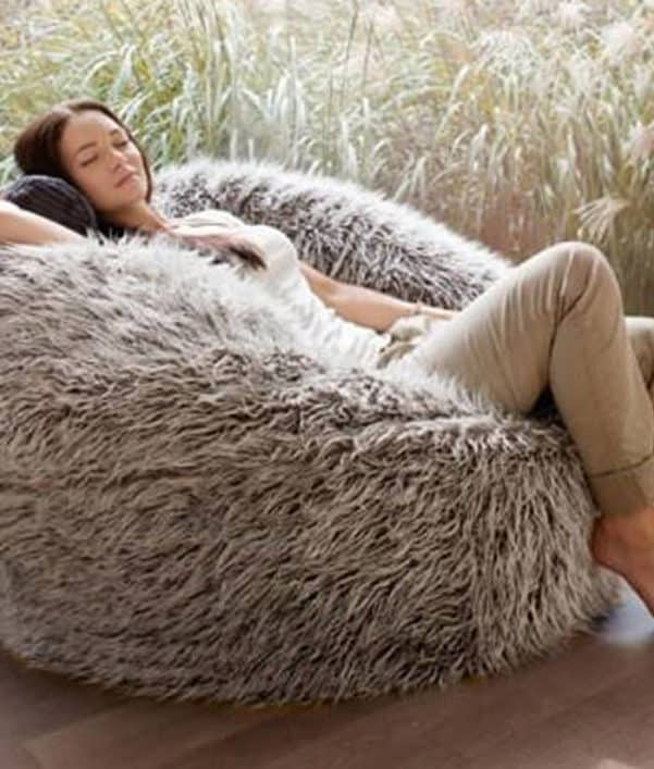 Deluxe Faux Fur Bean Bag Brown Large