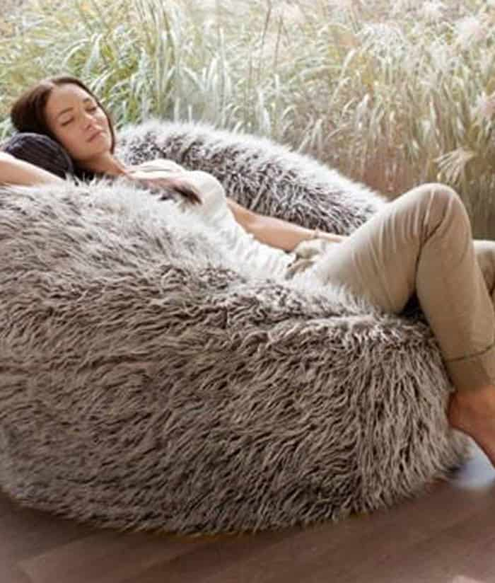 Deluxe Brown Faux Fur Bean Bag Extra Large Kloudsac