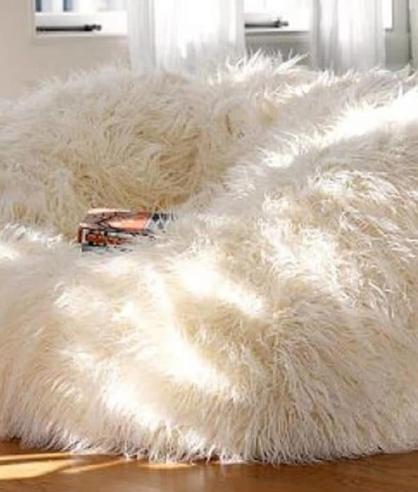 Deluxe White Fur Bean Bag