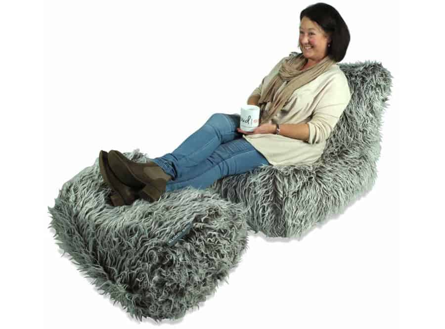Chaise Lounger Brown Faux Fur Kloudsac