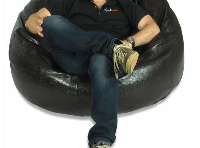 Sink in to a KloudSac leather bean bag