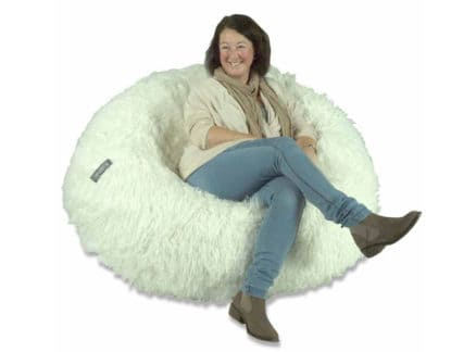 Seated in bean bag