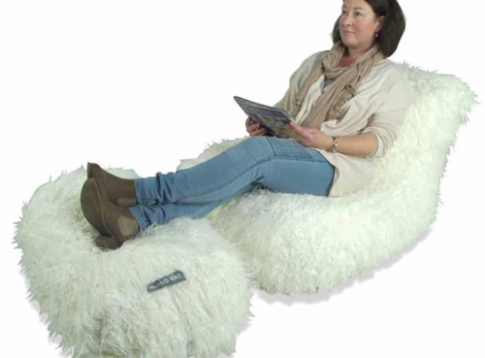 White Faux Fur Chaise Lounger