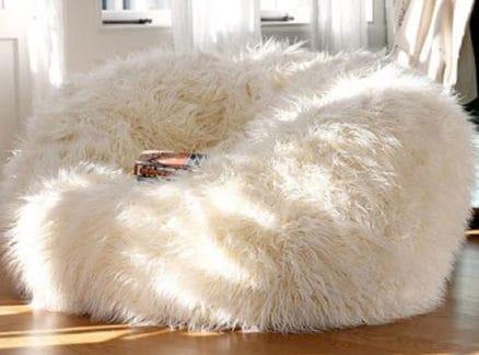 White faux fur xl bean bag