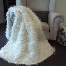 White Faux Fur Throw Rug on Chair