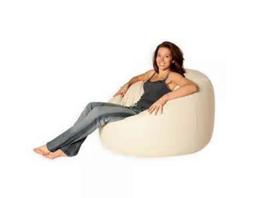 Beige leather bean bag