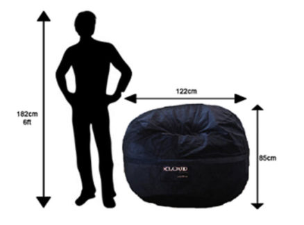XL bean bag size chart