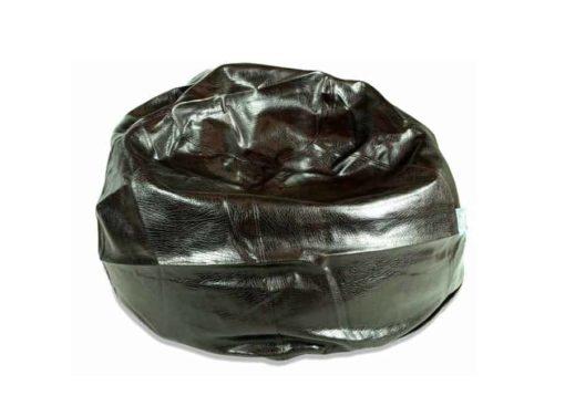 Large black leather bean bag