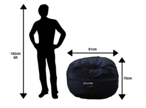 Regular bean bag size chart