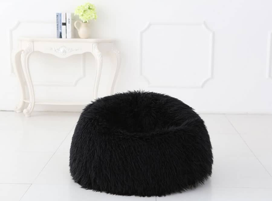 Deluxe Black Faux Fur Bean Bag (Extra Large) - Kloudsac 31e86bc87a80a
