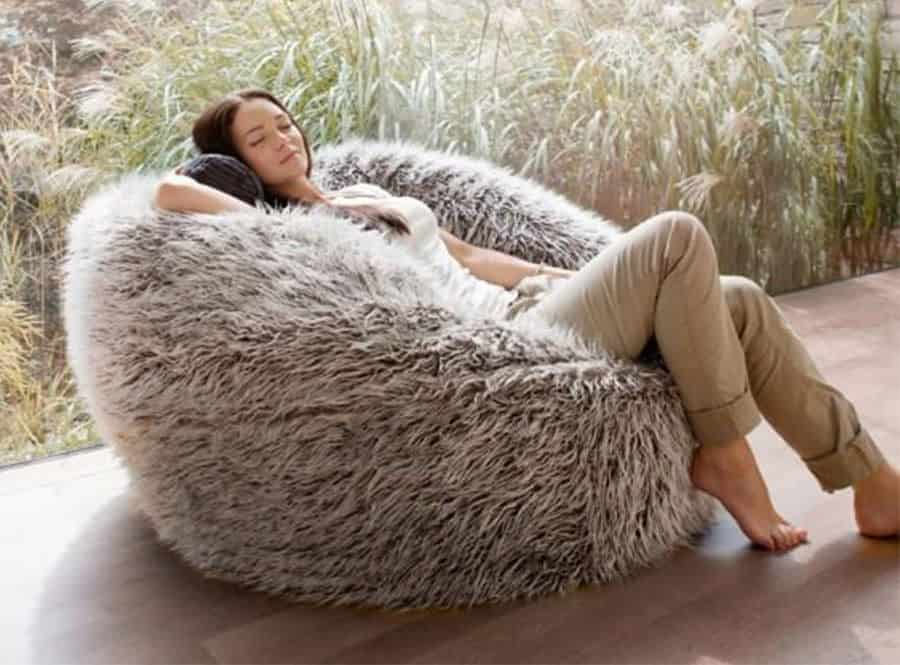 98a0870e61c7 Deluxe Brown Faux Fur Bean Bag (Extra Large) - Kloudsac