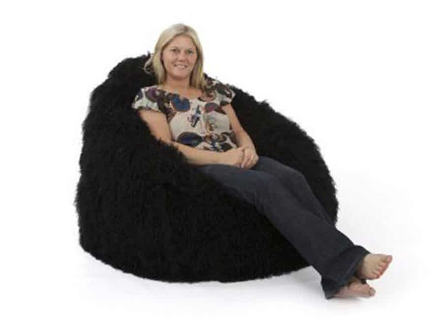 Pleasant Deluxe Black Faux Fur Bean Bag Extra Large Squirreltailoven Fun Painted Chair Ideas Images Squirreltailovenorg